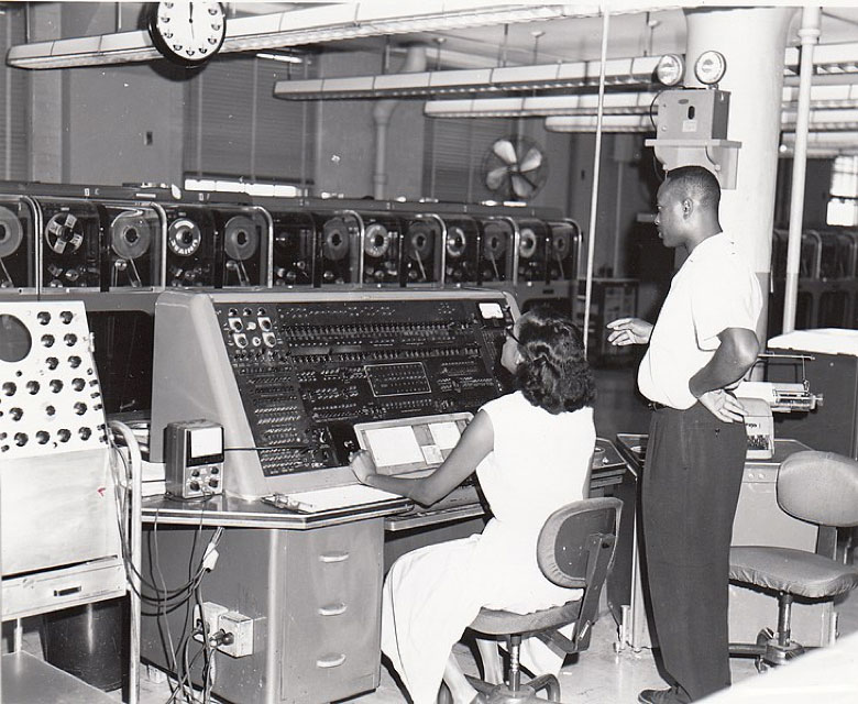 US Census Bureau employees tabluating data on one of the agency's UNIVAC computers ca. 1960