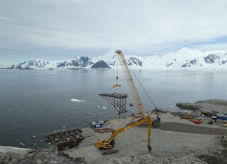 The beam is being used for wharf modernization at British Antarctic Survey's Rothera Research Station.