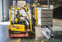 person using forklift manufacturing cybersecurity