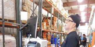 Mobile-powered work carts allow associates to wheel the receiving process directly to the product and scan it, eliminating wasteful steps.