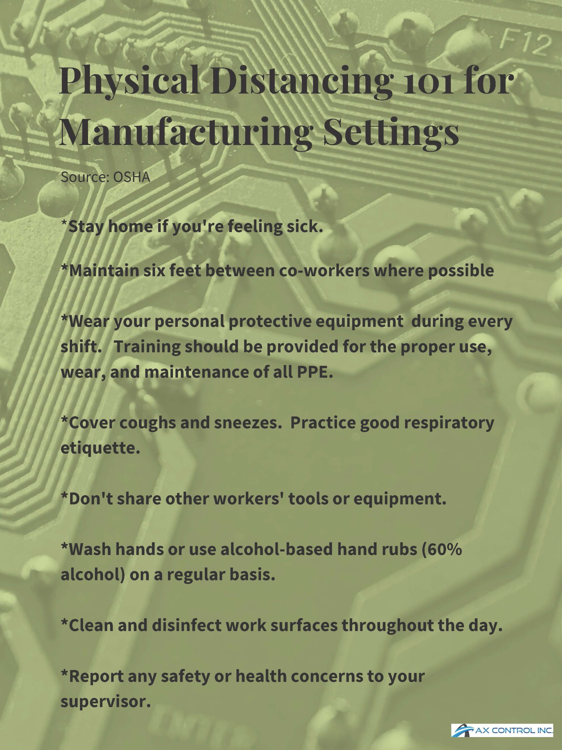 physical distancing for manufacturing