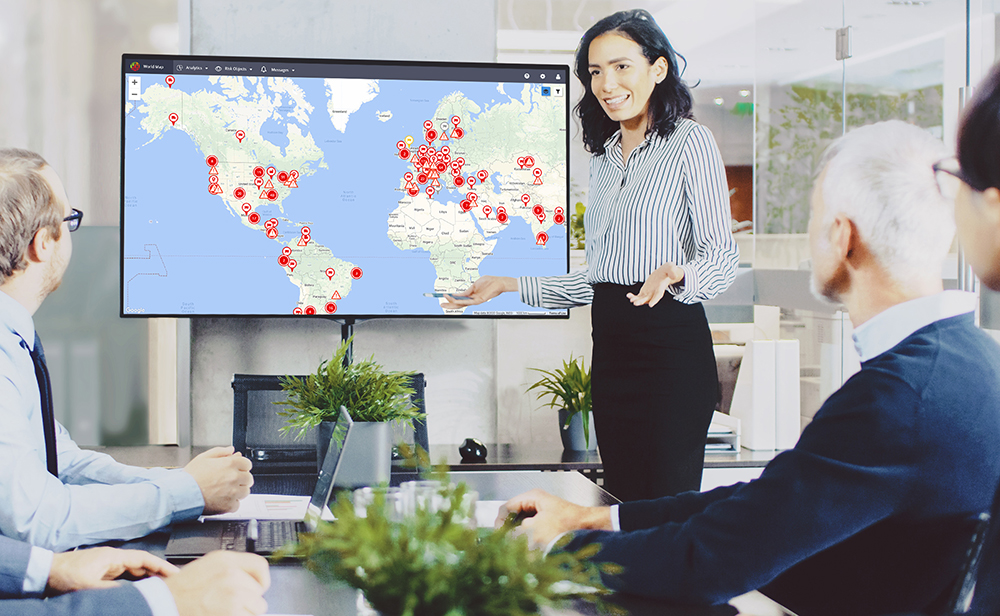 With riskmethods, organizations can visualize various risk alerts at supplier sites and distribution centers around the globe.