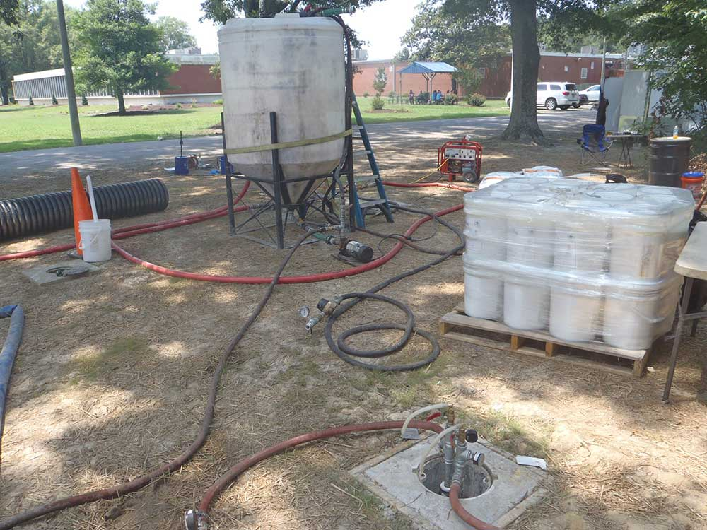 Example of a subsurface injection system for in situ bioremediation at an industrial site.