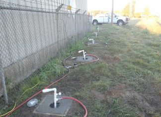Injection well system at a manufacturing site for in situ bioremediation.