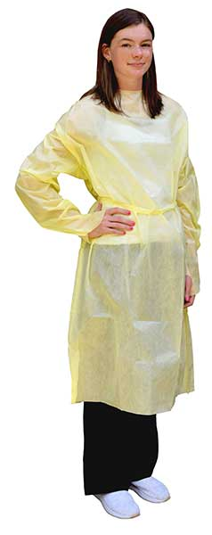 Spunbond Polypropylene isolation gowns protect medical staff and patients from microorganisms and bodily fluid