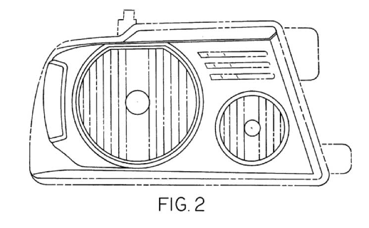 "U.S. Patent No. D501,685, titled ""Vehicle Head Lamp,"" claims ""[t]he ornamental design for a vehicle headlamp,"" as shown in Figure 2 above."
