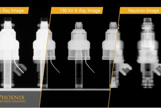 A three-way comparison between X-ray and N-ray images of a set of fuel injectors.