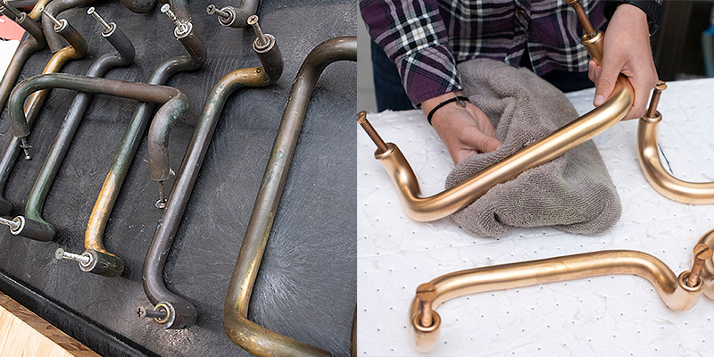 Copper door handles before and after.