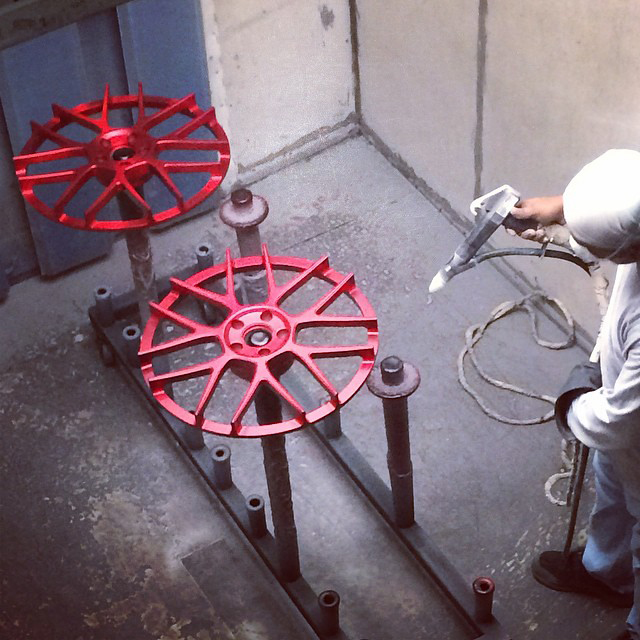 Powder coating can be used for individual projects of various sizes, from car wheel rims all the way up to large industrial support structure.
