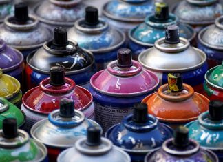 Spray paint and other traditional forms of painting can release VOCs into the air which can form grown-level ozone.