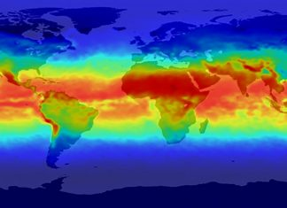 Ultraviolet-B radiation in April 2001 was most intense (bright red) in the tropics and least intense (blue) in polar regions