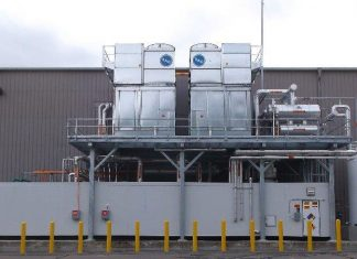 Pre-fabricated mechanical room package, field assembled. This package and platform are an Exclusive Innovative Refrigeration Systems, INC. manufacture with cascade ammonia / CO2 design - Seabrook, NH
