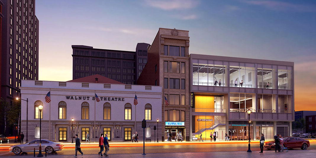 A nighttime rendering of the entire Walnut Street Theatre with the new building to the right. Photo courtesy Walnut Street Theatre.