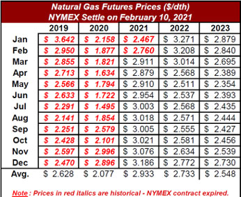 natural gas futures prices nymex settle on february 10 2021