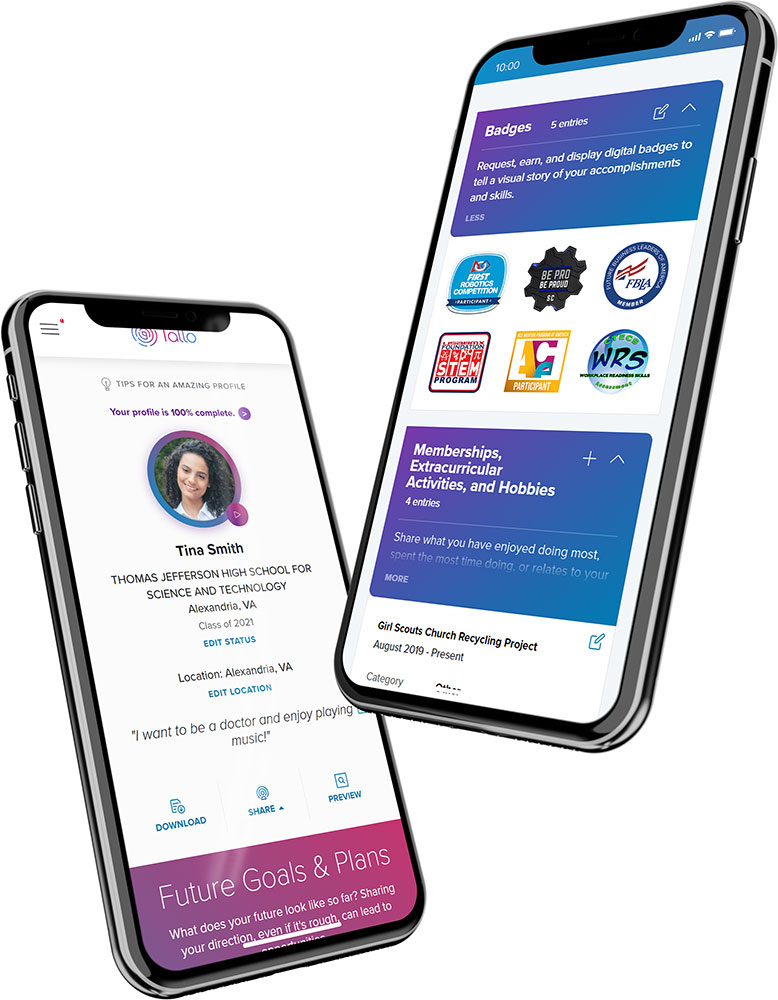 Recruiters can search through talent profiles to connect with students with industry-specific interests and relevant digital badges.