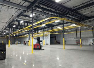 The installation is 18 ft.-high and covers 24,000 sq. ft. within a new 63,000 sq. ft. expansion.