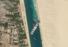 A satellite image shows the cargo ship Ever Given stuck in the Suez Canal.
