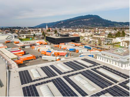 Gebrüder Weiss will save around 1,050 tons of CO2 annually with solar power installations by the end of 2021. Here: the new photovoltaic system at the Lauterach / Austria location produces 440 megawatt hours (MWh) of electricity per year. (Source: Gebrüder Weiss / Sams)