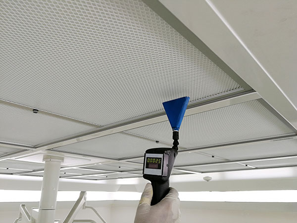Soft focus to scan air leak test of HEPA filter