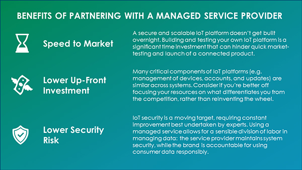 Managed IOT services can benefit CPG brands, allowing them to reduce cost and risk, move faster and focus on their unique differentiators.